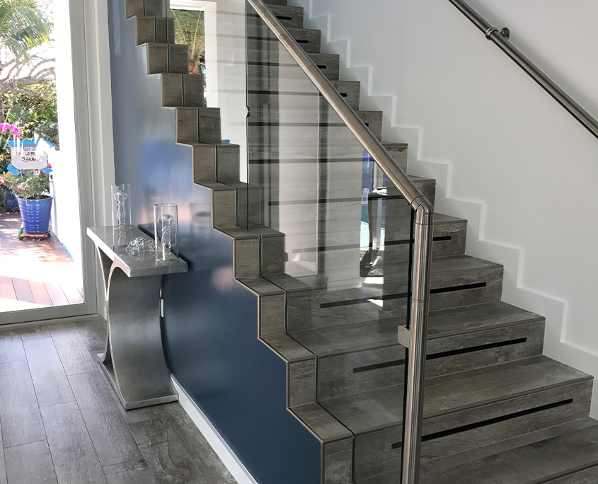 Glass Railing Blue Accent